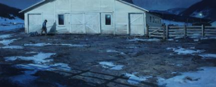 Image: Harrison Eiteljorg Purchase Award. Josh Elliott, Calving Season, 2016. Oil, 24 x 58 in.