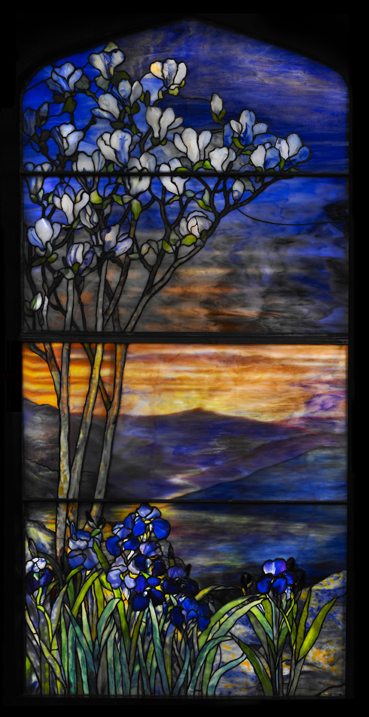 Tiffany Studios, River of Life Window, early 20th century, leaded glass. Photograph by John Faier.