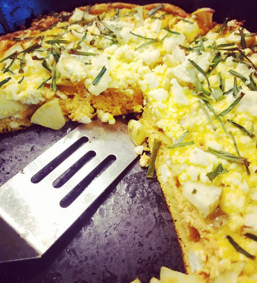Pumpkin, Apple & Ricotta, Frittata  - Episode 56 eggs1 cup canned pumpkin 2 tbs milkSaltPepper1 apple, diced1/4 cup chives1 cup ricotta cheesePreheat the oven to 400°Heat a med-large oven proof skillet over med-high heat.whisk together the eggs, milk ,season with salt and pepper.beat in the pumpkinuntil well blended.Preheat the oven to 400°heat a med-large oven proof skillet over med-high heat.Pour in the egg mixture. Top with chives, apples and spoonfuls of ricotta andtransfer back to the oven. Cook for 20 minutes or until the frittata is slightlypuffed and browned on top. Remove from the oven and let cool for 10 minutes.Watch Episode