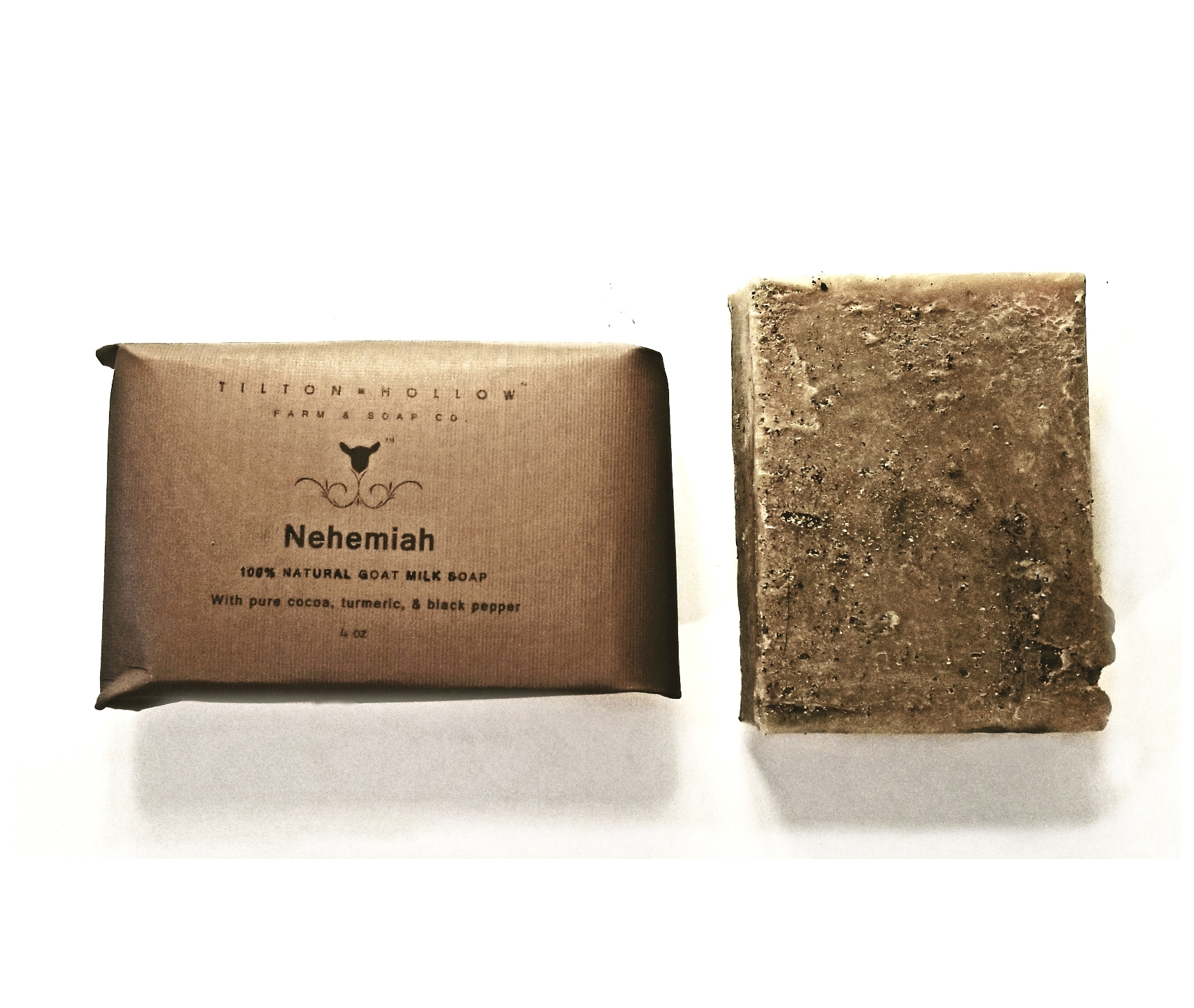 {Nehemiah} - Cocoa, Turmeric, Black Pepper, & Essential oils{Nehemiah} natural Goat Milk Soap, is named after and inspired by Nehemiah Tilton. Nehemiah came to Licking county with his parents John and Sally, from New Jersey in 1823. Nehemiah, was a hardworking, rugged farmer...yet a gentle soul, and that's the qualities we put into this soap! {Nehemiah} Goat Milk Soap is works hard to get your skin clean, while being gentle enough to leave your skin feeling soft and rejuvenated!