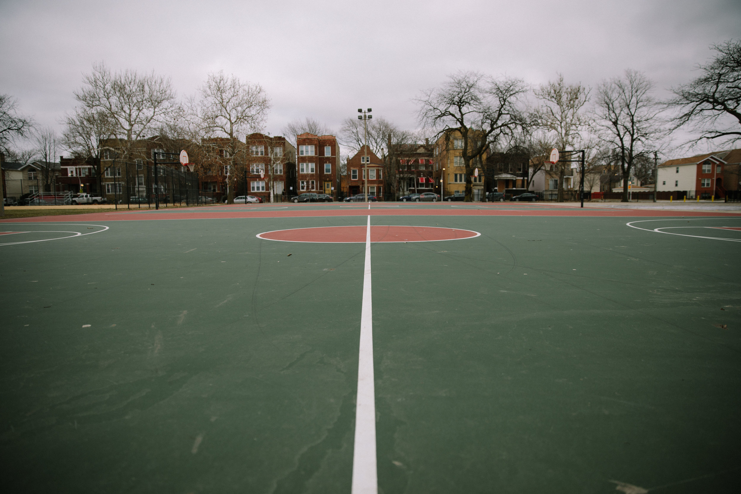 Basketball courts at Franklin Park on Chicago's west side. In 2017, Corniki Bornds only son, BJ, was murdered in a non-targeted shooting as he walked to the park to play basketball with his friends. In the aftermath of her son's death, Corniki found support through other mothers who had also lost children to gun violence. The support group is run by Parents for Peace and Justice, a support and advocacy organization in Chicago. MCC partners with Parents for Peace and Justice to help support their important work.
