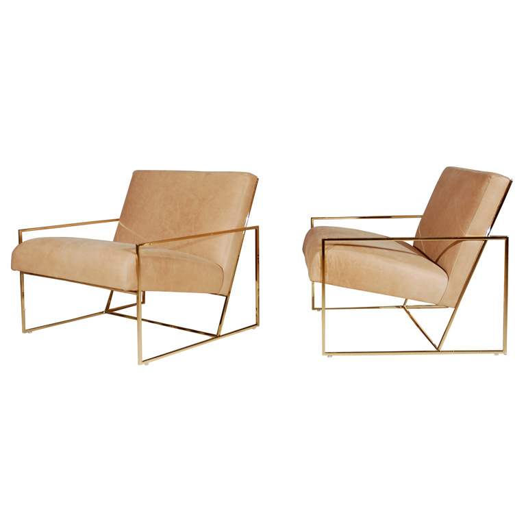 Brass thin-framed chairs by Lawson-Fenning