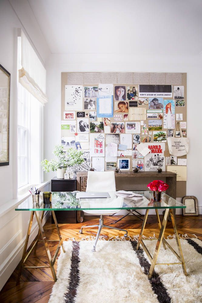 home office with brass accents