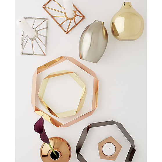 gami rose gold candle holder / cb2