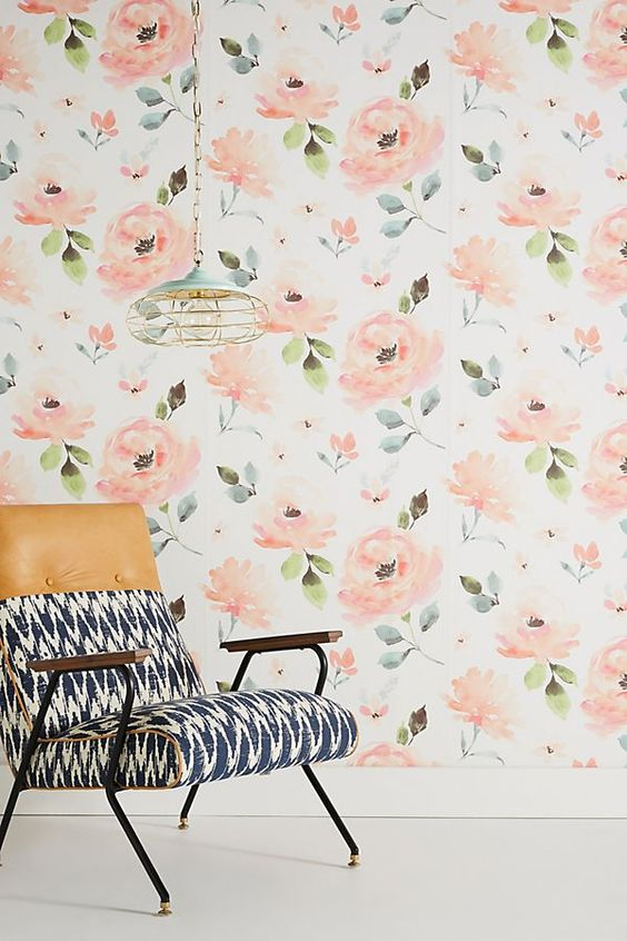 Blooming watercolor wallpaper - anthropologie