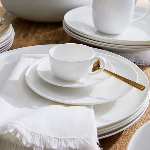 WEST ELM rim bone china dinner plates