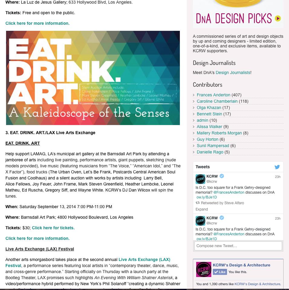KCRW - DnA BLOG // Editor's Picks