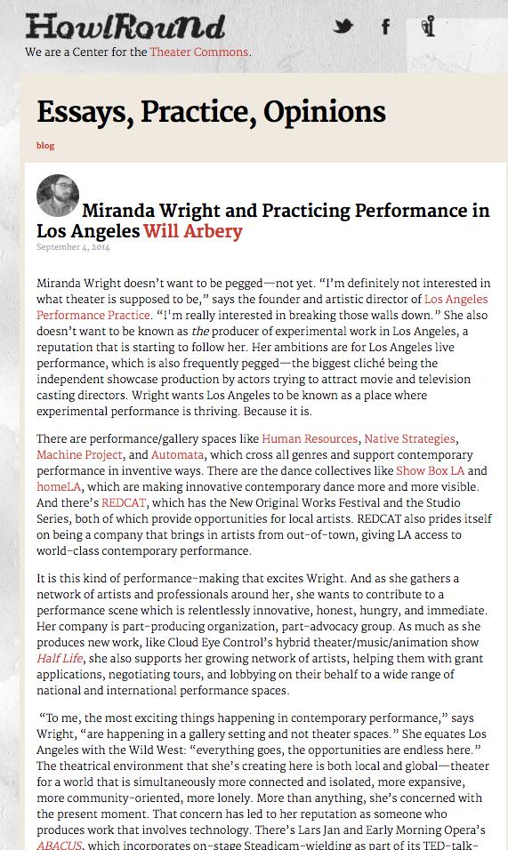 HOWLROUND // Miranda Wright Profile Review