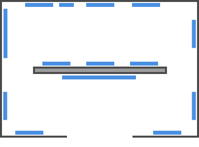 Figure 1: An example gallery space with a single internal wall.