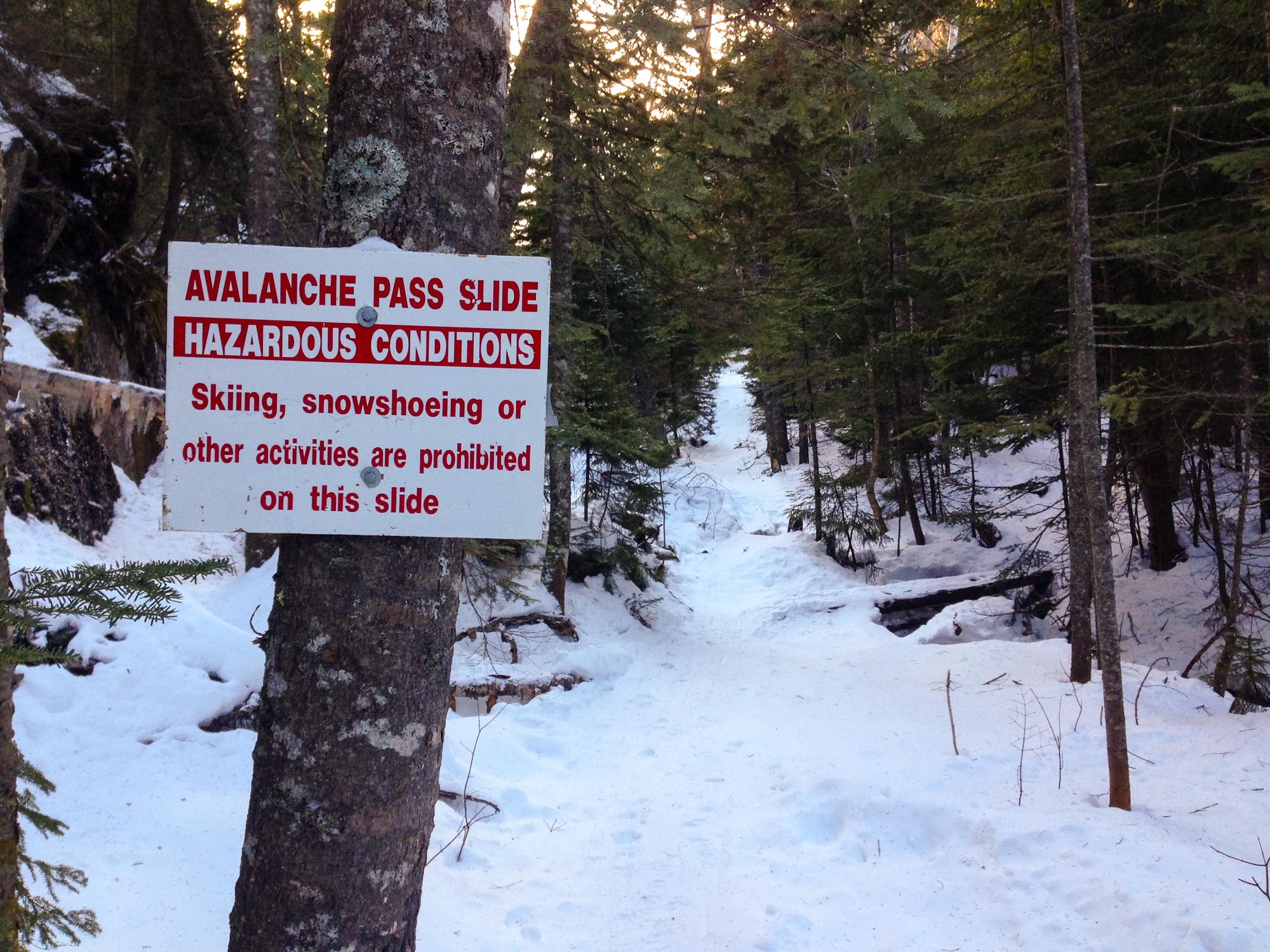 Avalanche Pass Hazard Sign