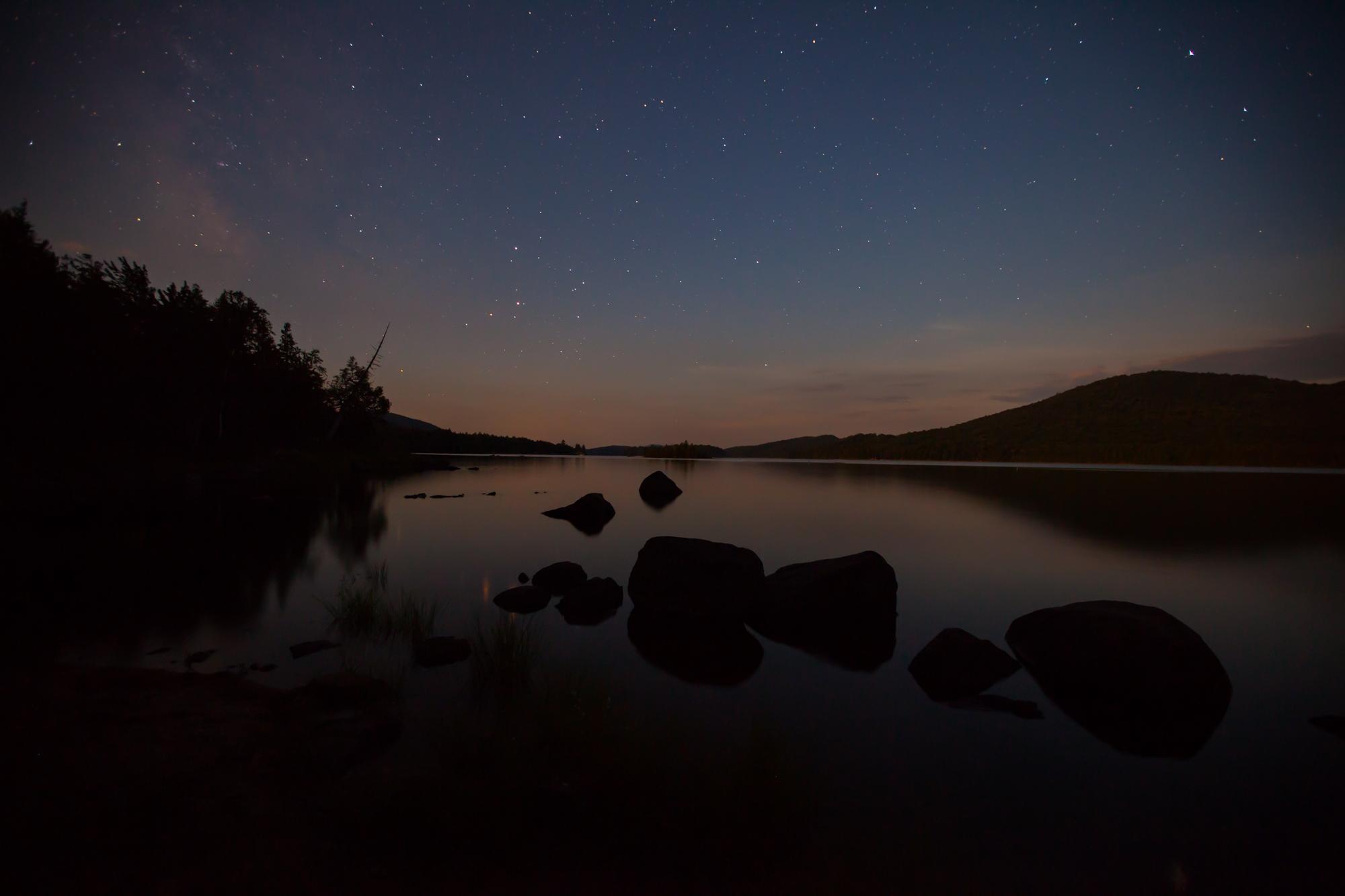 Night sky looking South down Long Lake