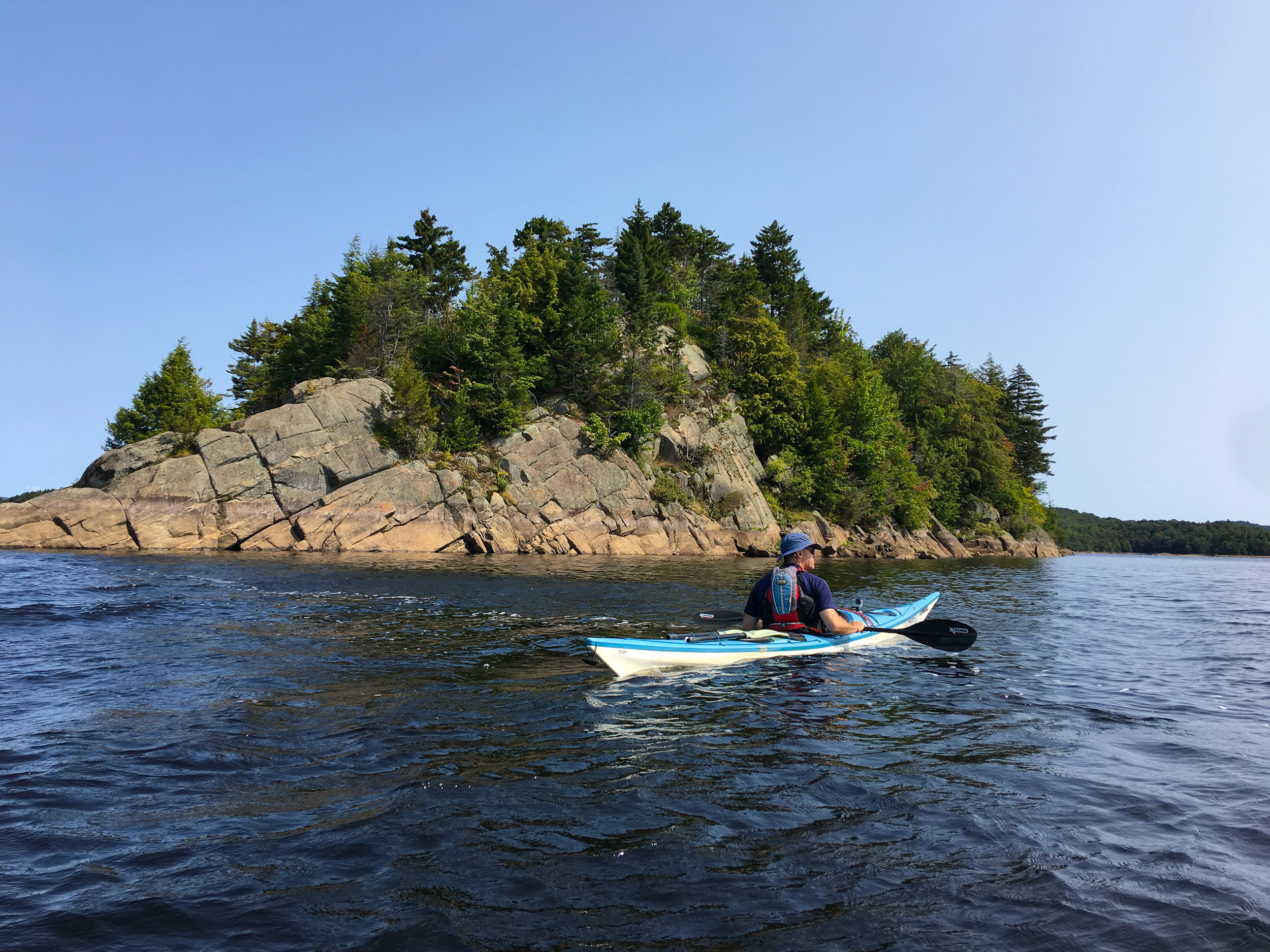 Exploring one of the many rock islands on Stillwater.
