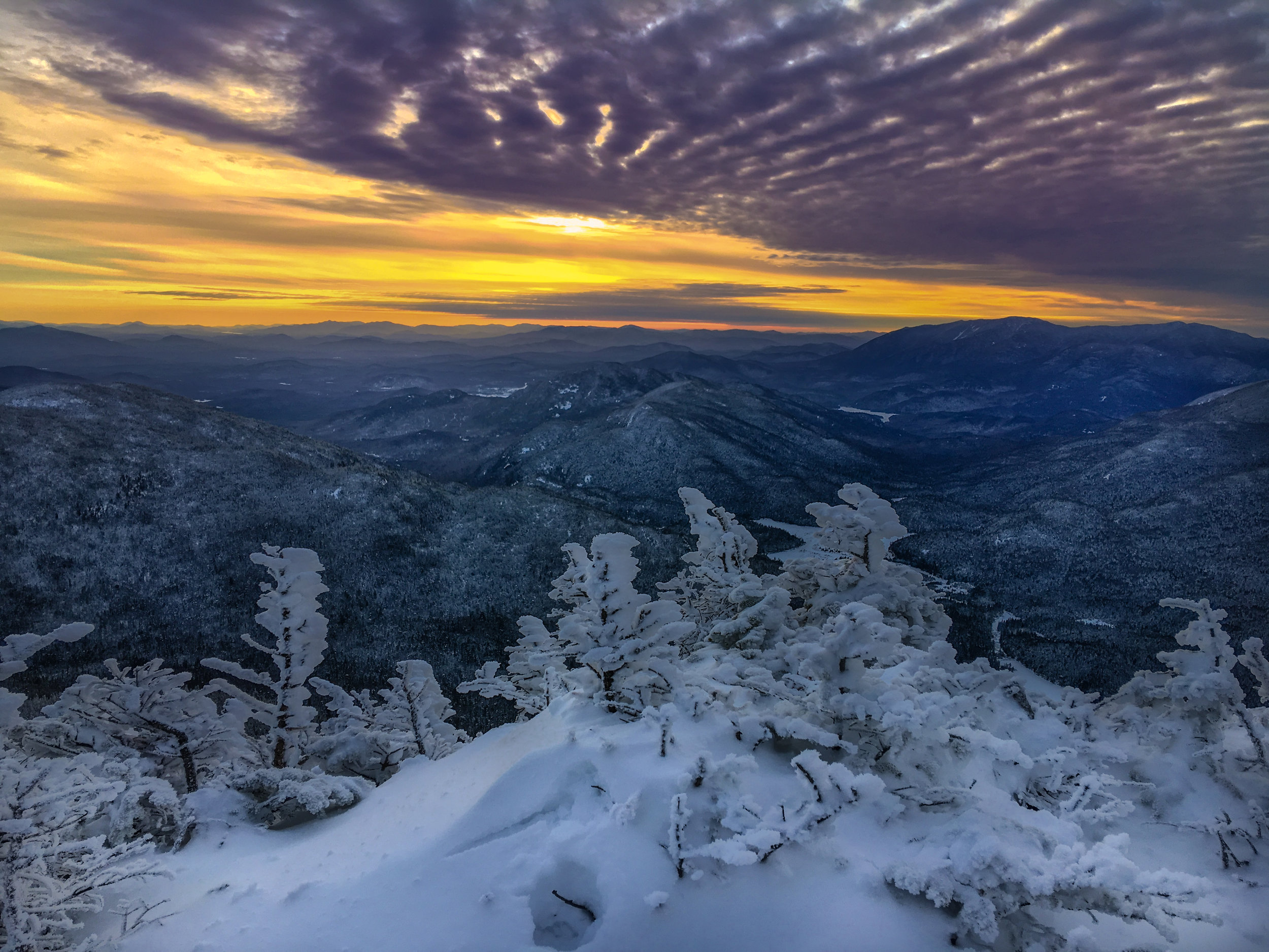 View of Sunset from the peak of Mount Colden, elevation 4,715ft.
