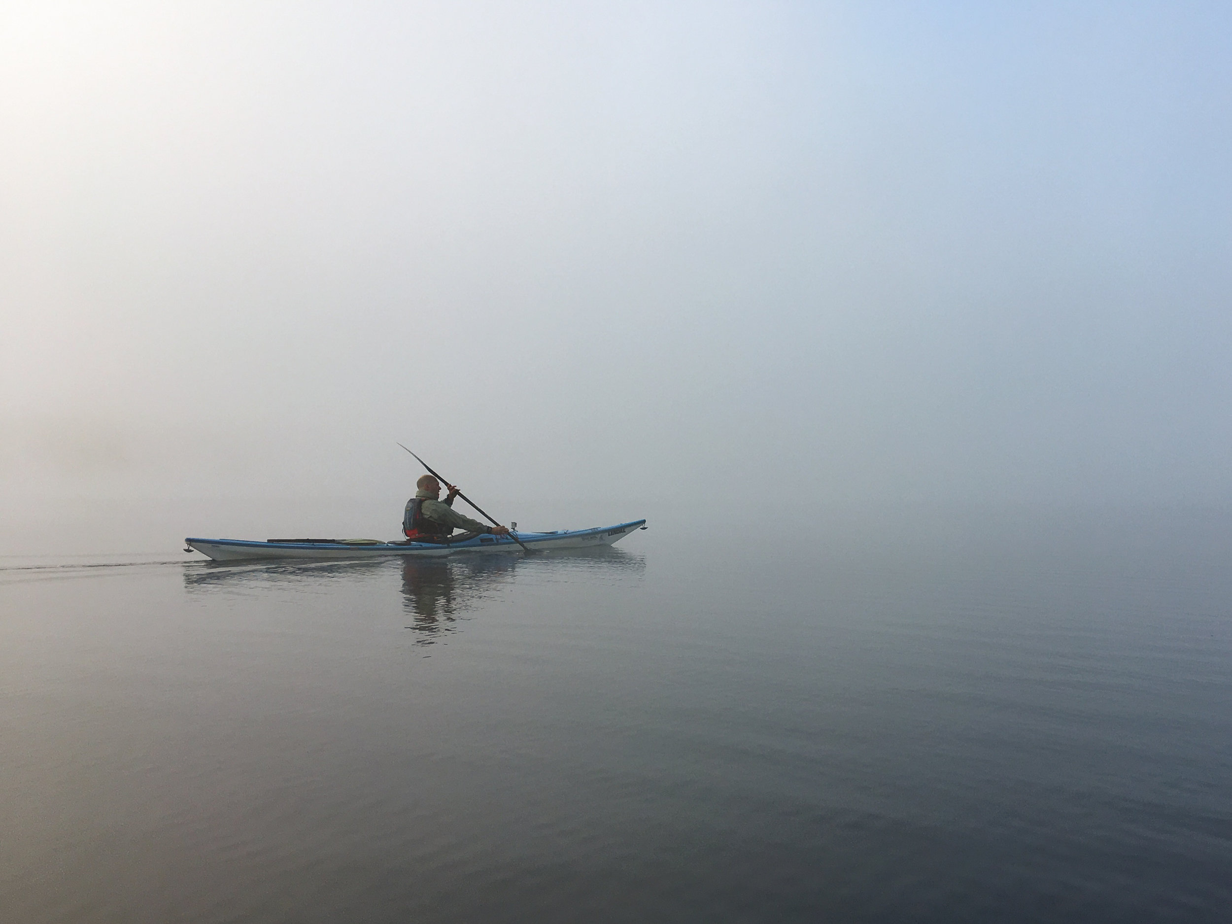 Paddling in the early morning fog on Stillwater Resevoir