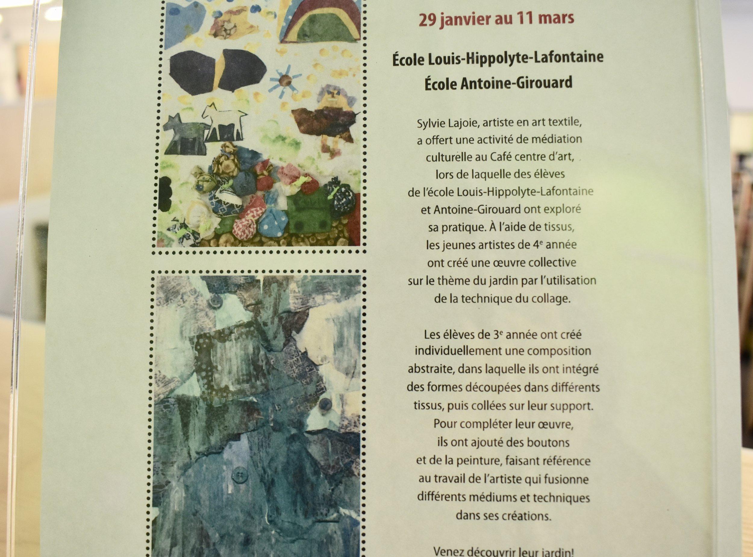 Exposition à La Galerie lez'arts - Collage textile et acrylique