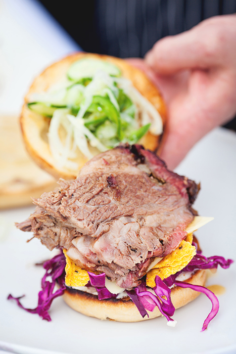 Slow roasted beef brisket sandwich created by chefs Reader and Pritchard