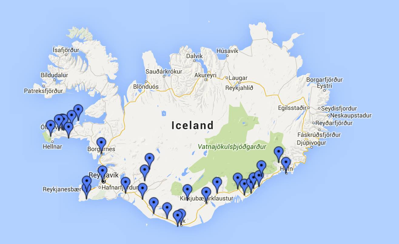 Our stops as we went forth and back across Iceland.
