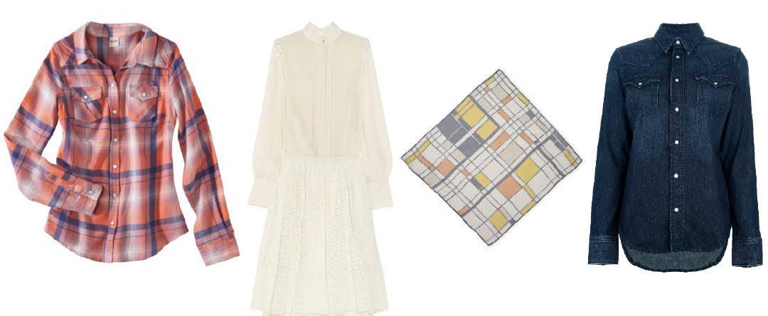 Mossimo  shirt |  Chloé  dress |  Club Monaco  headscarf |  Ralph Lauren  shirt.