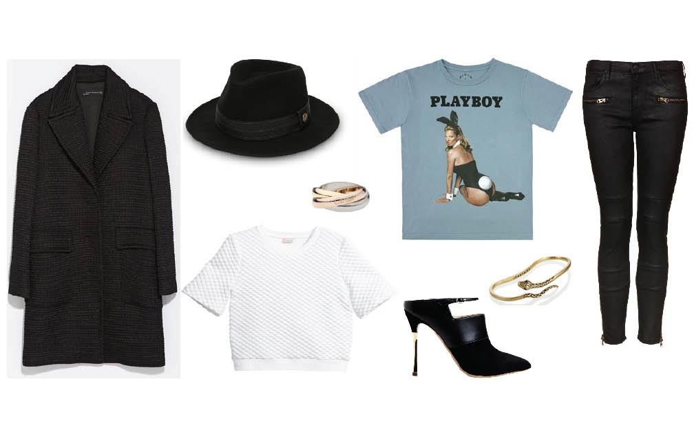 Zara  coat |  Goorin Bros. fedora |  Kate Moss Playboy  tee |  Topshop  jeans |  Jenny Bird  palm cuff | Nicholas Kirkwood mules |  H&M  top |  Cartier  trinity ring