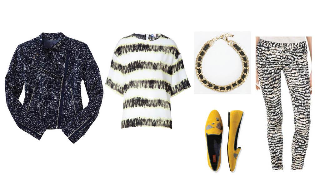 Gap moto jacket | MSGM top | Urban Outfitters necklace | Club Monaco pants | Joe Fresh loafers