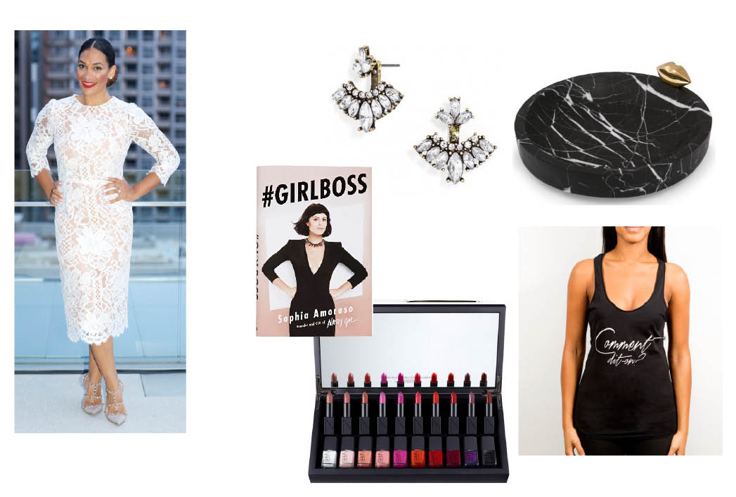 Mariposa Ear Jackets $32. I  have a few pairs of these interesting earrings which are like a hybrid between an ear cuff and a traditional earring. I get the most compliments when I wear them and for $32 you can buy one for yourself and your friend and not feel super bad about it...     GirlBoss by Sophia Amoruso $28.   I forever have my nose in a book and it's because I haven't had a chance to read this highly buzzed book by Nasty Gal founder Sophia Amoruso that it's high on my list. From what I hear it's a great read that inspires empowerment which would make it an equally interesting gift to give.     Medium Liaison Catch All Dish  $350.   I'm the worst at putting my jewelry away at night and though a sweet little dish like this would be ideal to sit on my bedside to collect said jewels, I probably would never get around to buying it for myself thus making it the perfect gift for me.... Plus I know three people I would also love to gift it to. Double plus, Kelly Wearstler is a dream.     NARS Vault  $600.   Being a lipstick and nail polish fiend, this NARS 'Vault' is the ultimate. I actually saw it in real life and almost instantly snapped it up for myself - it's that stunning - but the $600 price tag put it solidly back on my 'wish' list.     Coco & Cowe T  $40.  Last but not least, what's better than giving something that you've made? We've created a small collection of t's and tanks and our first release reads: Comment dit-on on the front and on the back spells out all of our favorite designer's names phonetically, because, let's face it, some of them can be more than a little tricky! We love seeing our friends wear our work so it's a win, win. Plus they're super soft and comfy...