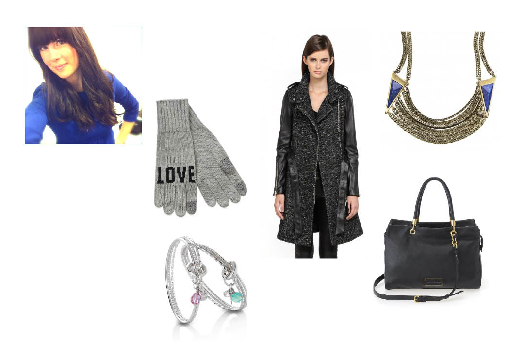 """La Notte """"Nicoli""""Gloves  $22 atAritzia.    Mackage Wool Trench with Leather Sleeves  $750.    Jenny Bird """"Frida"""" Collar  $150.   Marc Jacobs """"Too Hot To Handle""""Tote  $528.    Erin Tracy Charm Bangle  $140."""