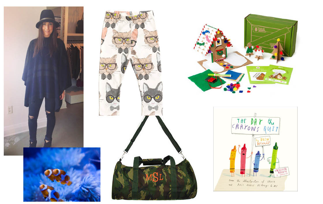 Ollie Jones Leggings  $32 – Locally made!    Kiwi Crate  $20 monthly subscription.     The Day the Crayons Quit  $14 at Chapters Indigo.    Personalized Camo Duffle Bag  $34 at You Name It Baby.  Anything Experiential –Tickets to the aquarium, ROM, Ontario Science Centre, cooking or art classes.  Lani's Tip: create a little themed  on the activity so they receive something tangible.  Visit Lani's maternity boutique Ani + Wren