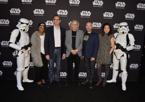 Alongside The Walt Disney Company executives (l to r), Pete Noonan, Peter Crighton, and Janice Lau-Pearson,award-winning set decorator of the original Star Wars series Roger Christian (centre) and stoomtroopers, natch. Photo: George Pimentel.