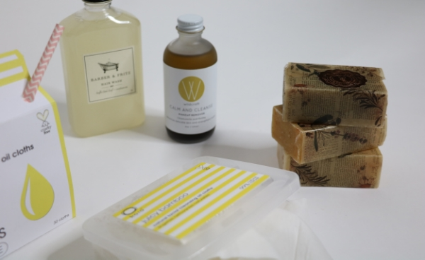 The Cleansers: Kaia Juicy Bamboo cloths | Barber & Fritz hair wash | Wildcraft makeup remover | Saje Wellness soap