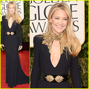 """Kate Hudson: Body hugging material works incredibly well with Kate's physique. The simple black with gold accents, love! Strong shoulders, revealing top (appears modest since she does not have a huge bust), and the flow of the dress is so flattering. I normally do not like the """"day look"""" hair and makeup with evening gowns but she pulled it off."""