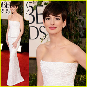 Anne Hathaway: So simple and so classic. Reminds me of Audrey Hepburn. This look never goes out of style. Neutral makeup with a defined brow. And who says that short hair isn't feminine?!? As long as you have a good hair stylist to cut it and complete it with good makeup and wardrobe, it is one of the most stunning looks ever!