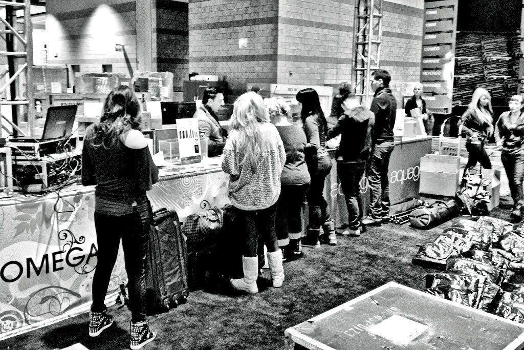 Production crew has our our booth & stage set up. Part of our team now puts together our show deals and gets product stocked and put out.
