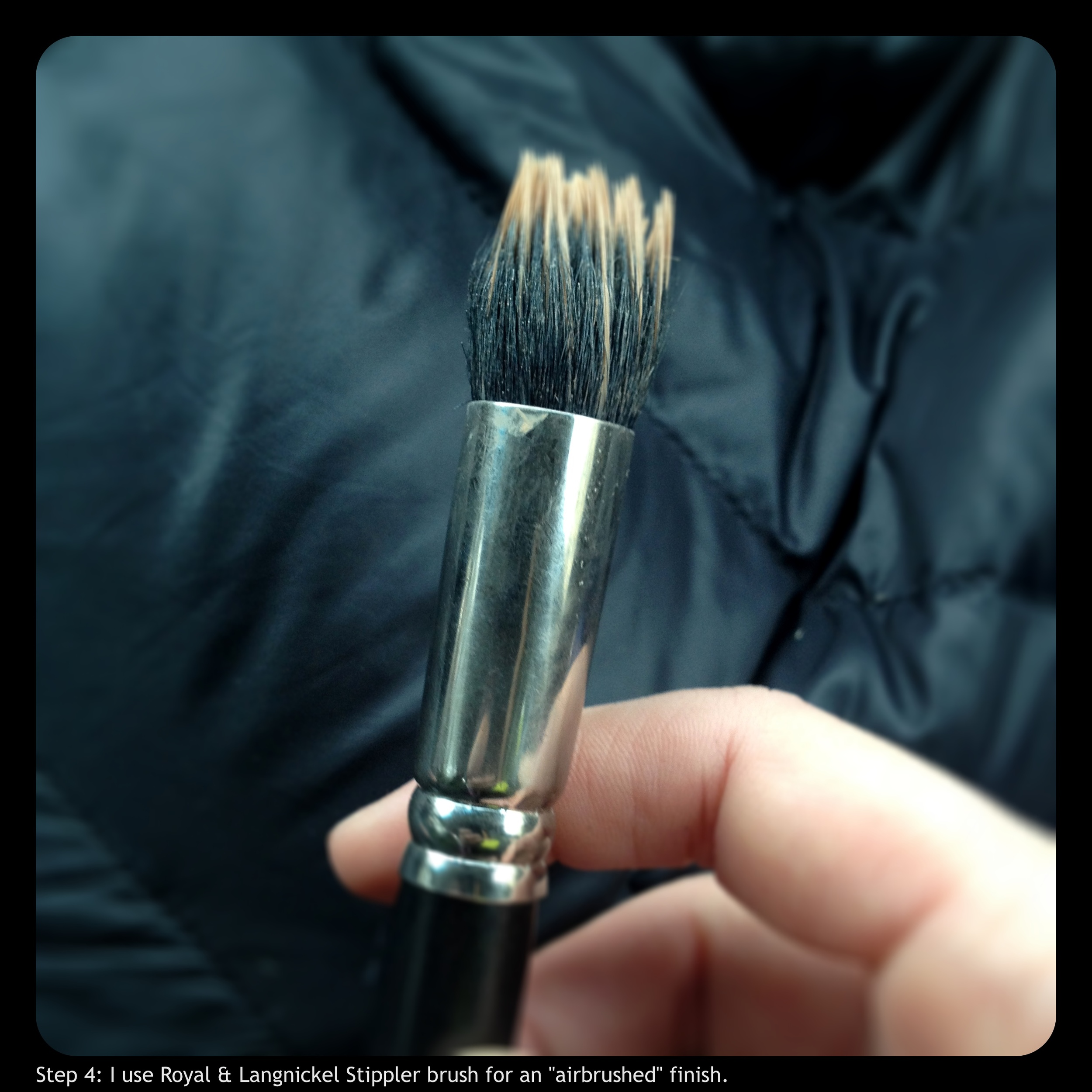 """Step 4: I use a Royal & Langnickel Stippler Brush for an """"airbrushed"""" finish."""