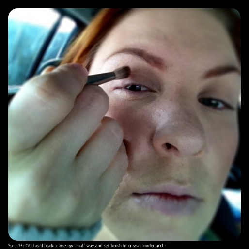 Step 13: Tilt head back, close eyes half way, and set brush in crease, under arch.