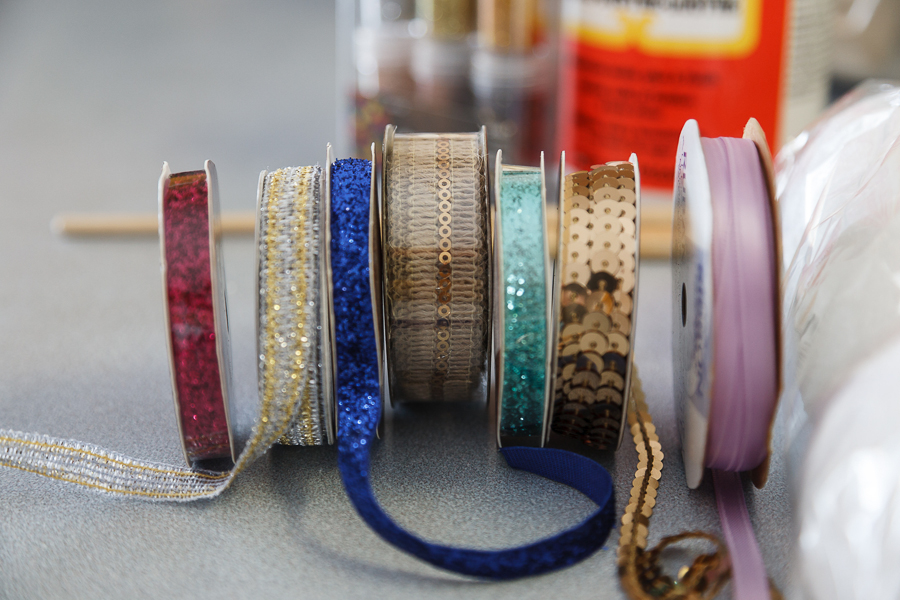 A variety of ribbon. Thinner ribbons work the best. If you have enough time to plan ahead, I wait until Hobby Lobby has 50% off their ribbons. I also pick up sale ribbon or ribbon at garage sales through out the year.