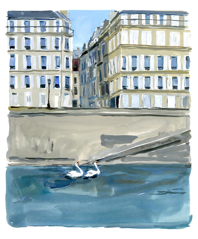 île Saint-Louis swann couple A Paris Journal, August Editions.