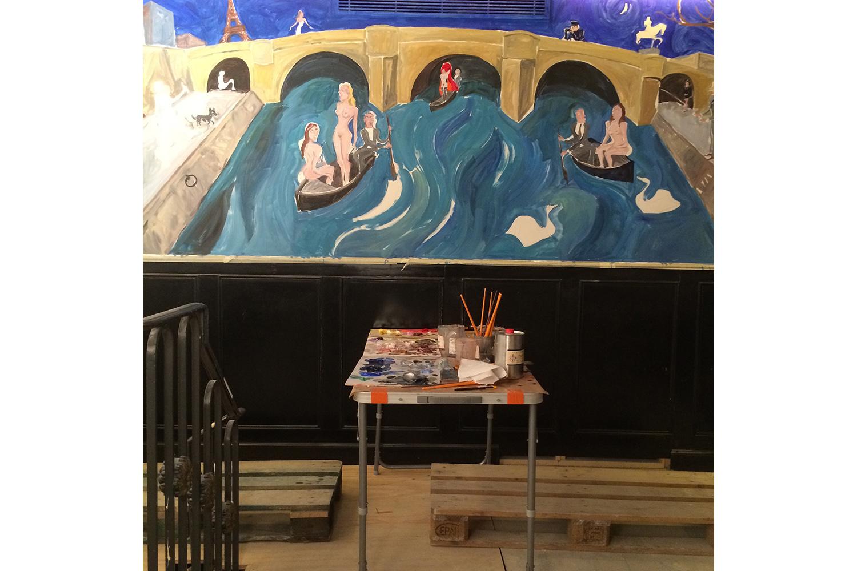 Painting the mural for Chez Castel, Paris