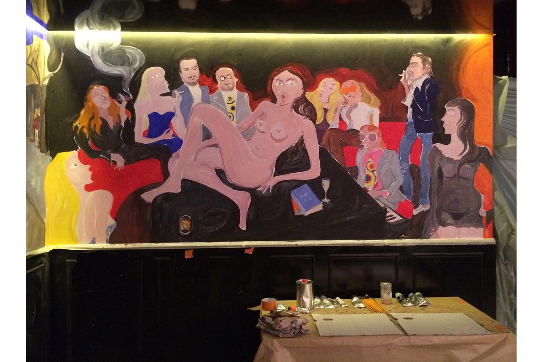 Painting the mural Chez Castel Paris