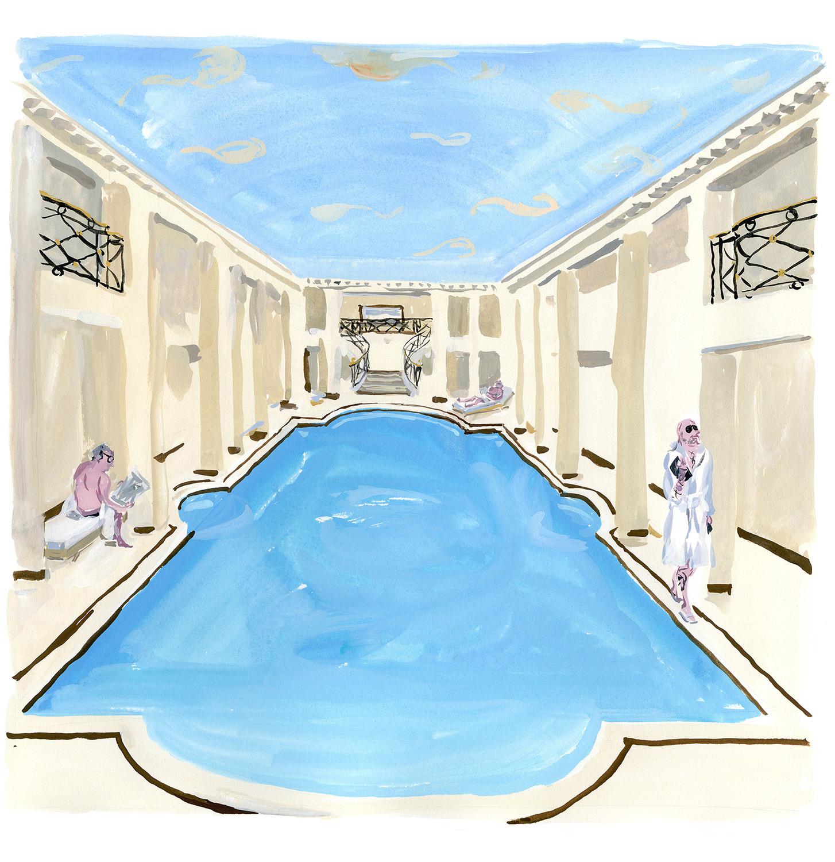 """Swimming pool at Le Ritz, Paris For """"M"""" Le Monde"""
