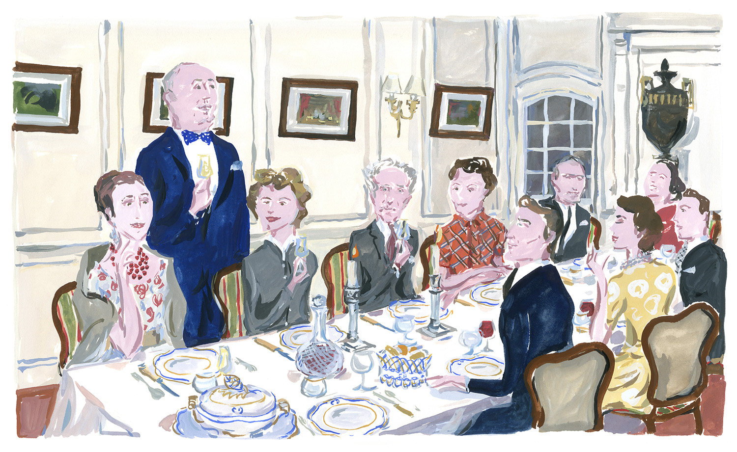 Dinner at La Colle Noire, with Jean Cocteau among the guests. Christian Dior in the South, published by Rizzoli NY.