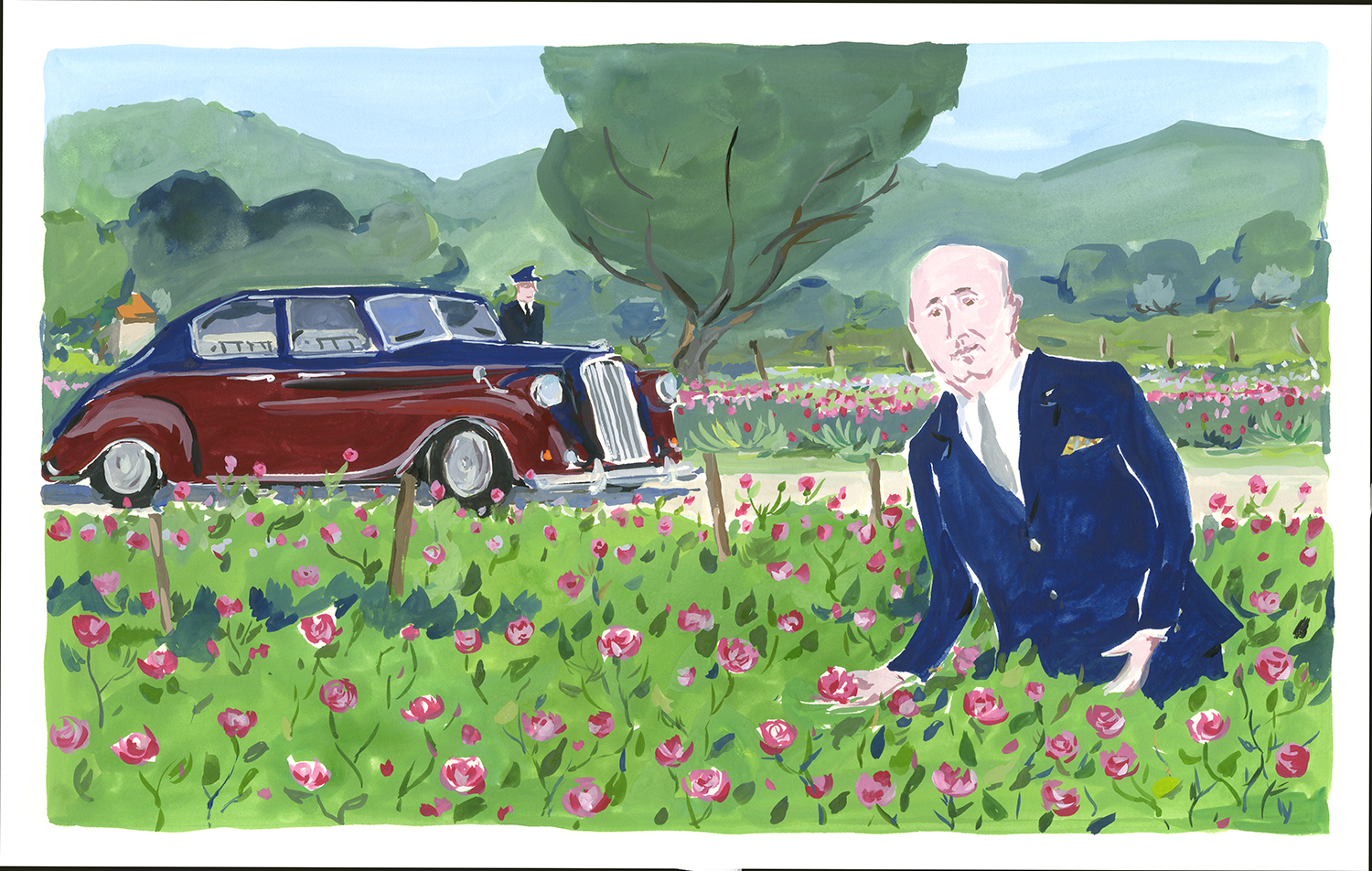 Christian Dior in  his rose fields. hristian Dior in the South, published by Rizzoli NY.
