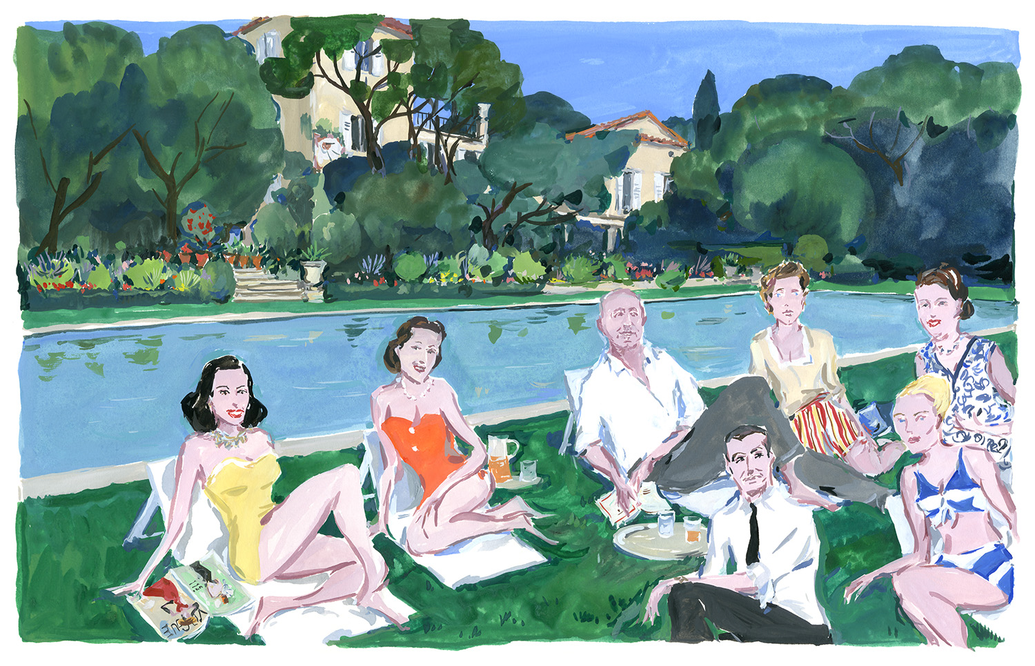 Christian Dior and friends at La Colle Noire. hristian Dior in the South, published by Rizzoli NY.