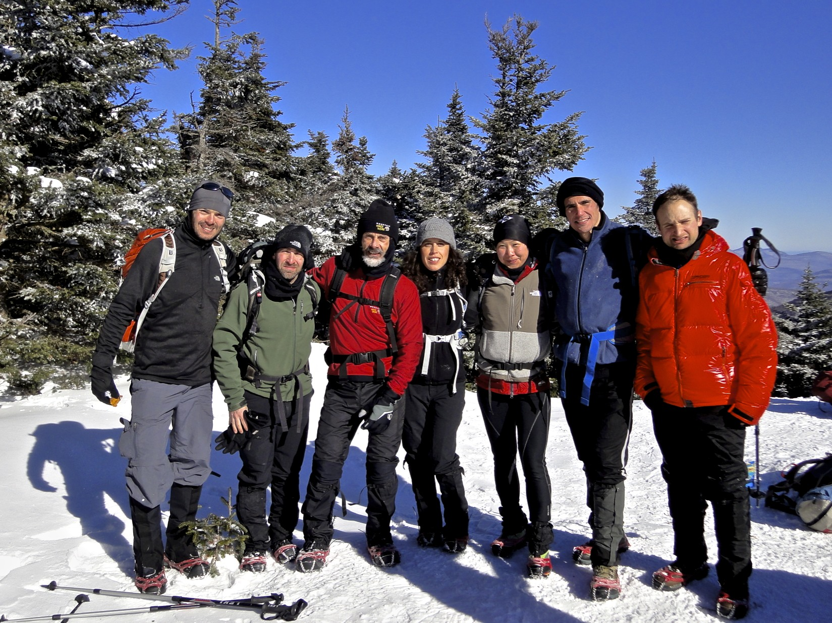 Everyone in their microspikes at the 203 Catskills Winter Adventure.