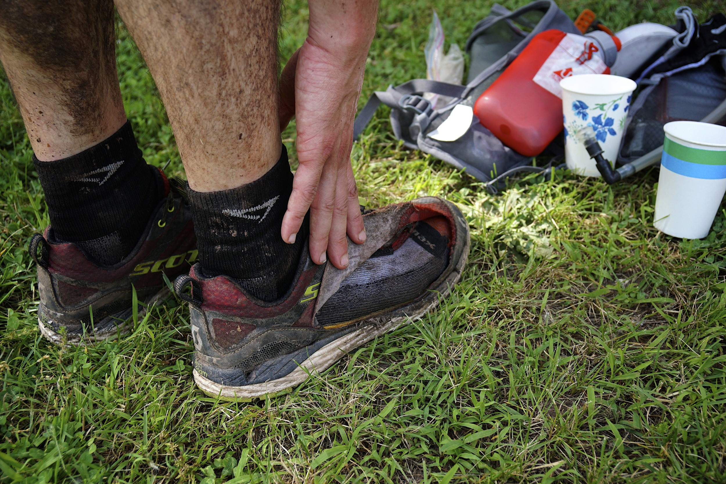 Brian's shoe at the finish