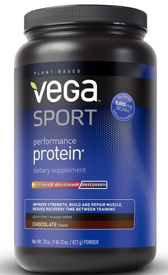 Vega Sport Performance Protein  - 25 grams of complete protein per serving from plan based sources. Includes 5,000 milligrams of BCAA's & 5,000 milligrams of Glutamine. Free of dairy, gluten and soy.