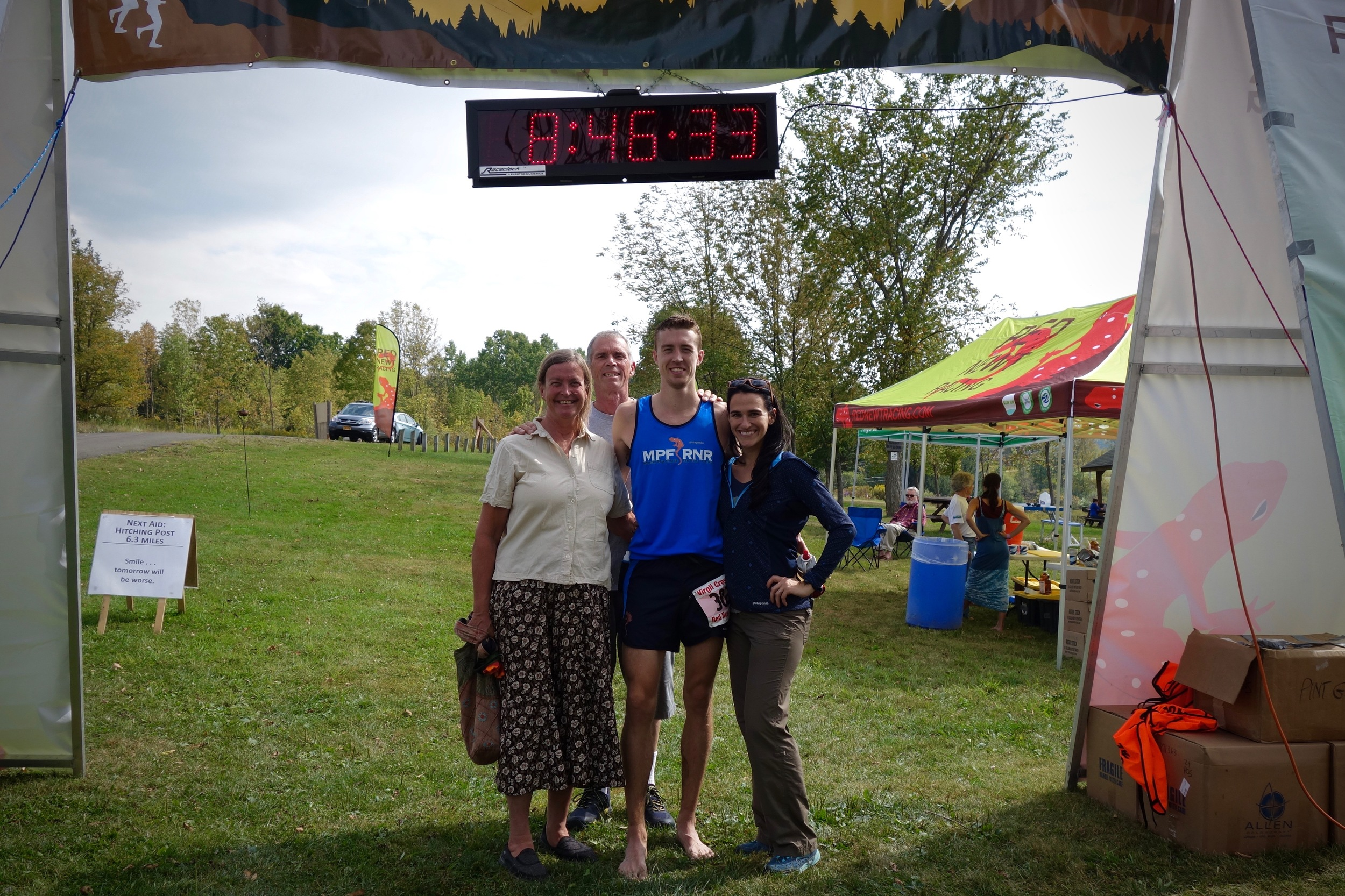 At the finish with my parents and Alli