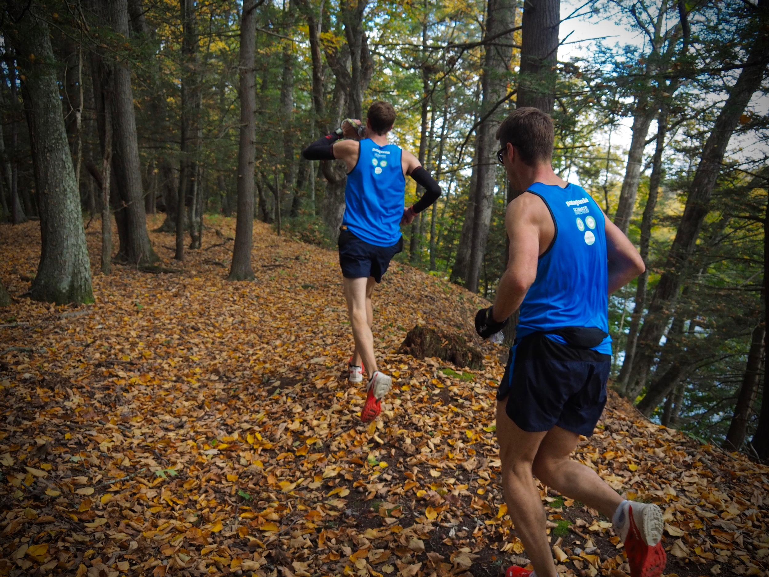Fall singletrack late in the race