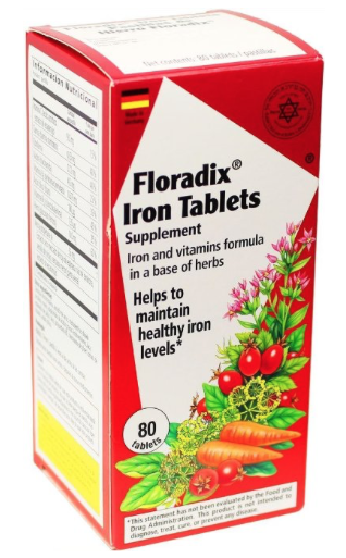 Floradix Iron Tablets  - Liquid extract formula rich in iron and B vitamins. A good source of vitamin C, Easily absorbed Non-constipating. Iron is one of the most common nutrient deficiencies in the world. Floradix Iron plus Herbs provides a very highly absorbable form of iron and combines it with B-vitamins, vitamin C, digestive herbs, specially cultured nutritional yeast (Saccharomyces cerevisiae), plus ocean kelp, and extracts of wheat germ and rosehip. Floradix Iron plus Herbs offers nutrients required for proper growth, energy, and for maintaining optimum health. All family members can enjoy the health benefits of this liquid formulation.