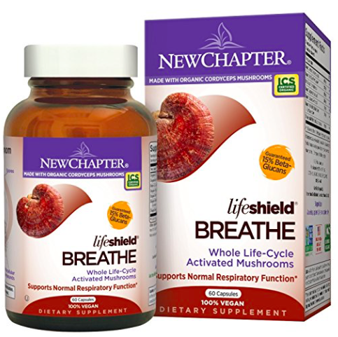 New Chapter® LifeShield Mushroom  formulas deliver tonic mushrooms' whole protective shield through the combination of mycelium, fruiting bodies, spores, and their extracellular compounds. Each stage of a mushroom's life cycle adds critical nutrients and protection for the mushroom. The combination of these stages creates the activated LifeShield to promote your health and wellness.* LifeShield Breathe is formulated with select species of tonic mushrooms, including Cordyceps, to promote normal lung respiration and function.