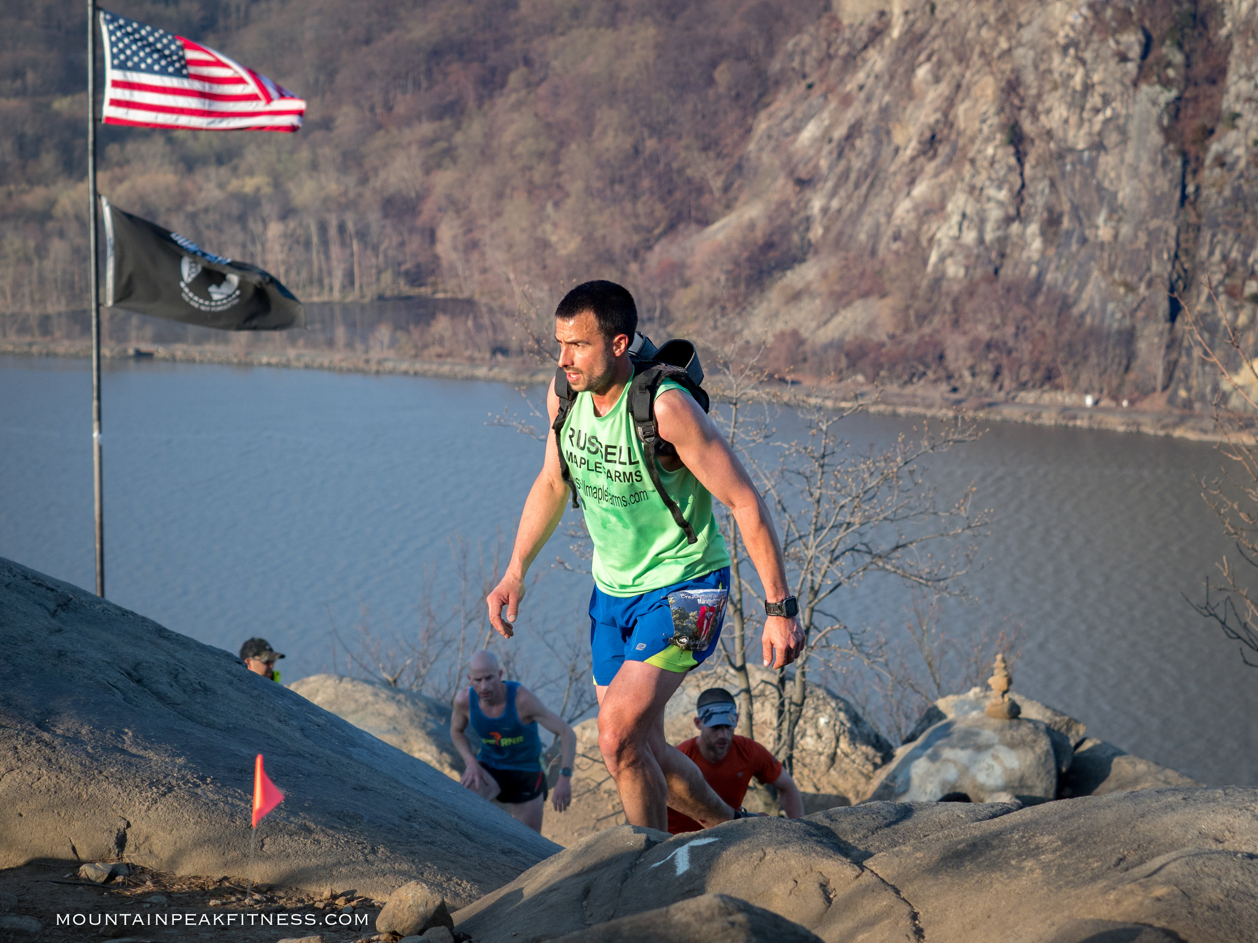 Adam Russell leading the charge up Breakneck Ridge.